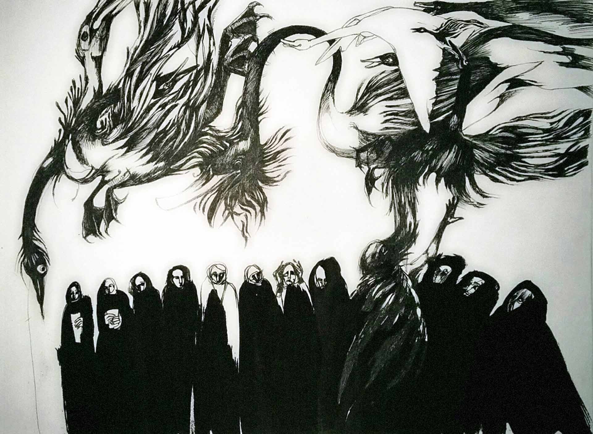 Drawing by Sarah Valeri: Swanstorm