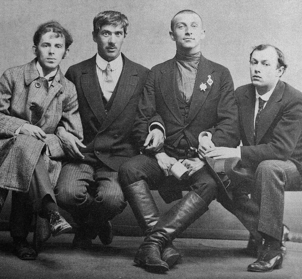 From left to right: Osip Mandelstam, Korney Chukovsky, Benedikt Livshiz, Yuri Annenkov, 1914. Photo by Karl Bulla. Public Domain.